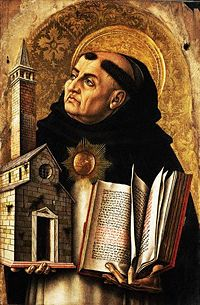Depiction of St. Thomas Aquinas from The Demidoff Altarpiece by Carlo Crivelli, courtesy of Wikipedia.