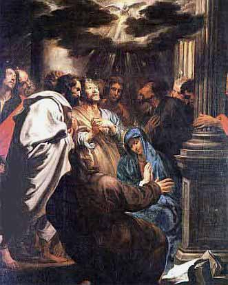 Painting of the Descent of the Holy Spirit at Pentecost by Anthonis Van Dyck courtesy of Wikipedia