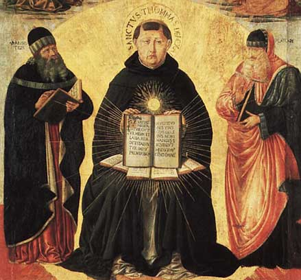 Painting of St. Thomas Aquinas by Benozzo Gozzoli from the 15th century, courtesy of Wikipedia