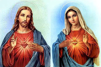 Picture of the Sacred Heart of jesus and the Immaculate Heart of Mary