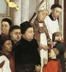 Painting of a bishop administering Confirmation by Rogier van der Weyden, from the 15th century, courtesy of Wikipedia.