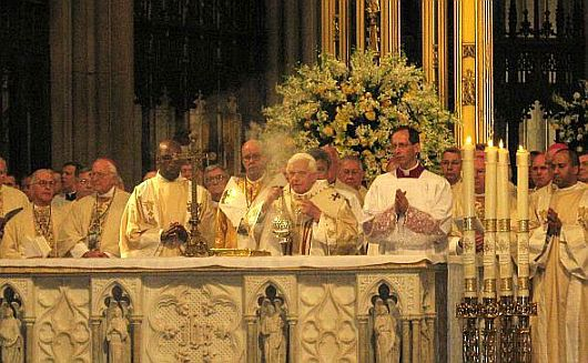 Picture of our Holy Father, Pope Benedict XVI ,during Mass at St. Patrick's Cathedral, copyright 2008 by Chris Castagnoli for www.ourcatholicprayers.com