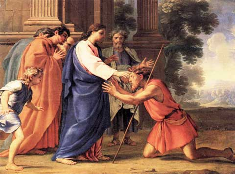 Painting of Christ Healing the Blind Man by Eustache Le Sueur courtesy of Wikipedia