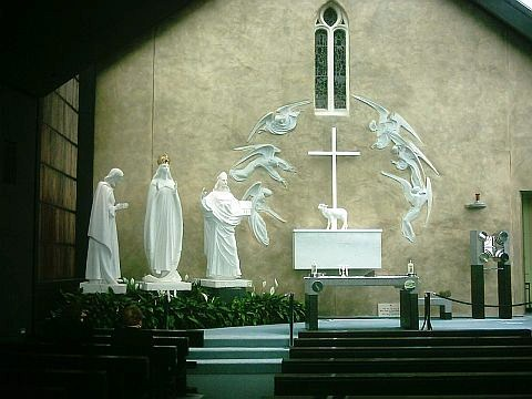 Picture of the Altar Scupture in the Apparition Chapel at Knock courtesy of Wikipedia